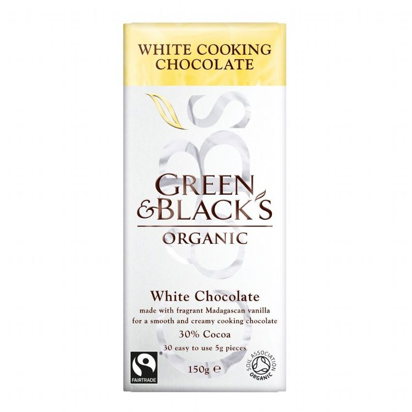 White Cooking Chocolate 30% Cocoa - Green & Black's Organic 150g VAT FREE